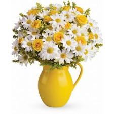 Golden Sunshine - Buchet din minirose galbene si crizanteme albe