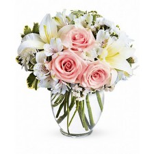 In style - Buchet din crini, trandafiri si alstroemeria