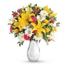 Joy of the day - Buchet din crini, garoafe si crizanteme