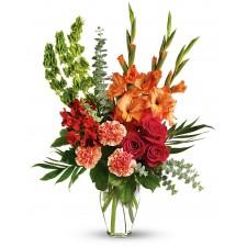 Loved One - Buchet din gladiole, garoafe, trandafiri si alstroemeria