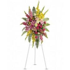 Lumina - Coroana din trandafiri, crizanteme, gladiole si crini