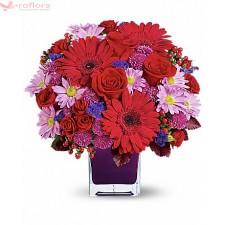 Magia Florilor – Aranjament din trandafiri, crizanteme si gerbera