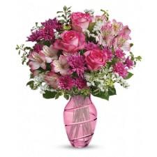 Make her smile - Buchet din trandafiri, alstroemeria si crizanteme