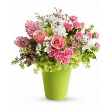 Zambet pentru mama - Buchet din trandafiri, matthiola, narcise si hortensii