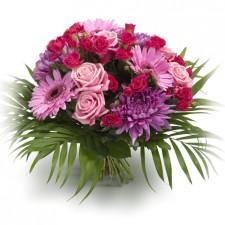 Pink Summer – Buchet din gerbera, minirosa, trandafiri si crizanteme