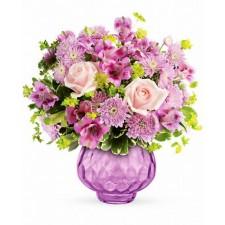 Rasfat cu lavanda - Buchet din trandafiri, alstroemeria si crizanteme
