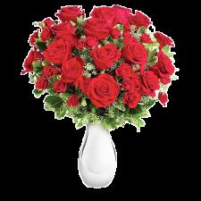 Reteta dragostei - Buchet din trandafiri si minirose rosii