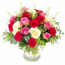 Roze, Roze - Buchet din 21 trandafiri rosii, roz si albi