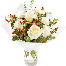 Sarbatori Fericite - Buchet cu trandafiri si garoafe