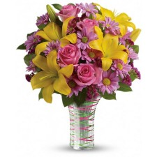 Serenade - Buchet din crini, trandafiri si crizanteme