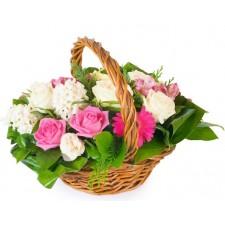 Spring joy - Cos cu trandafiri, gerbera si zambile