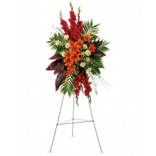 Sunset - Coroana din crini, gladiole, garoafe si hypericum