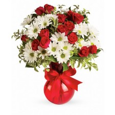 Super Star - Buchet minirosa rosie si crizanteme