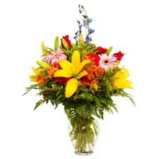 Vivid Colors – Buchet din crini, alstroemeria, garoafe si trandafiri