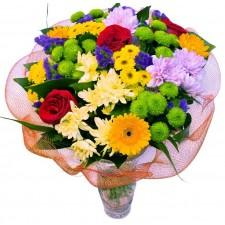Wishes Bouquet - Buchet din trandafiri, gerbera si crizanteme