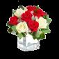 Darul Perfect - Aranjament din trandafiri rosii si trandafiri albi