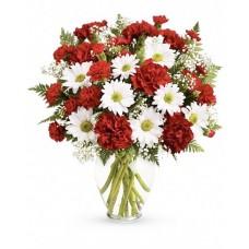 Ambiance Deluxe - Buchet garoafe si garofite rosii, gypsophila, crizanteme