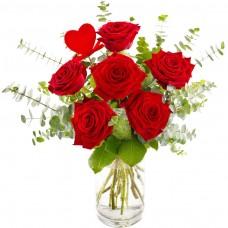 Rosu de Amor  – Buchet din 7 trandafiri rosii