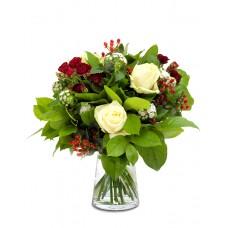 Satin – Buchet cu trandafiri albi si rosii