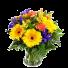 Yellow Hello – Buchet din gerbera, garoafe si irisi